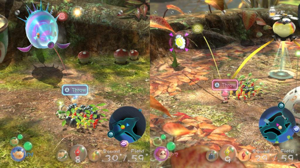 Pikmin 3 Deluxe - Bild, welches den Koop-Modus zeigt